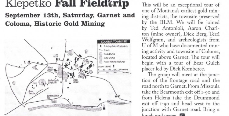 Klepetko Chapter Event: Fall Field trip September 13th, Saturday, Garnet and Coloma, Historic Gold Mining