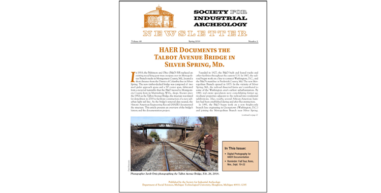 Society for Industrial Archeology Spring 2019 Newsletter Published