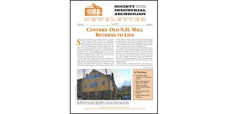 SIA Newsletter Volume 49 Number 2 - Spring 2020 Published